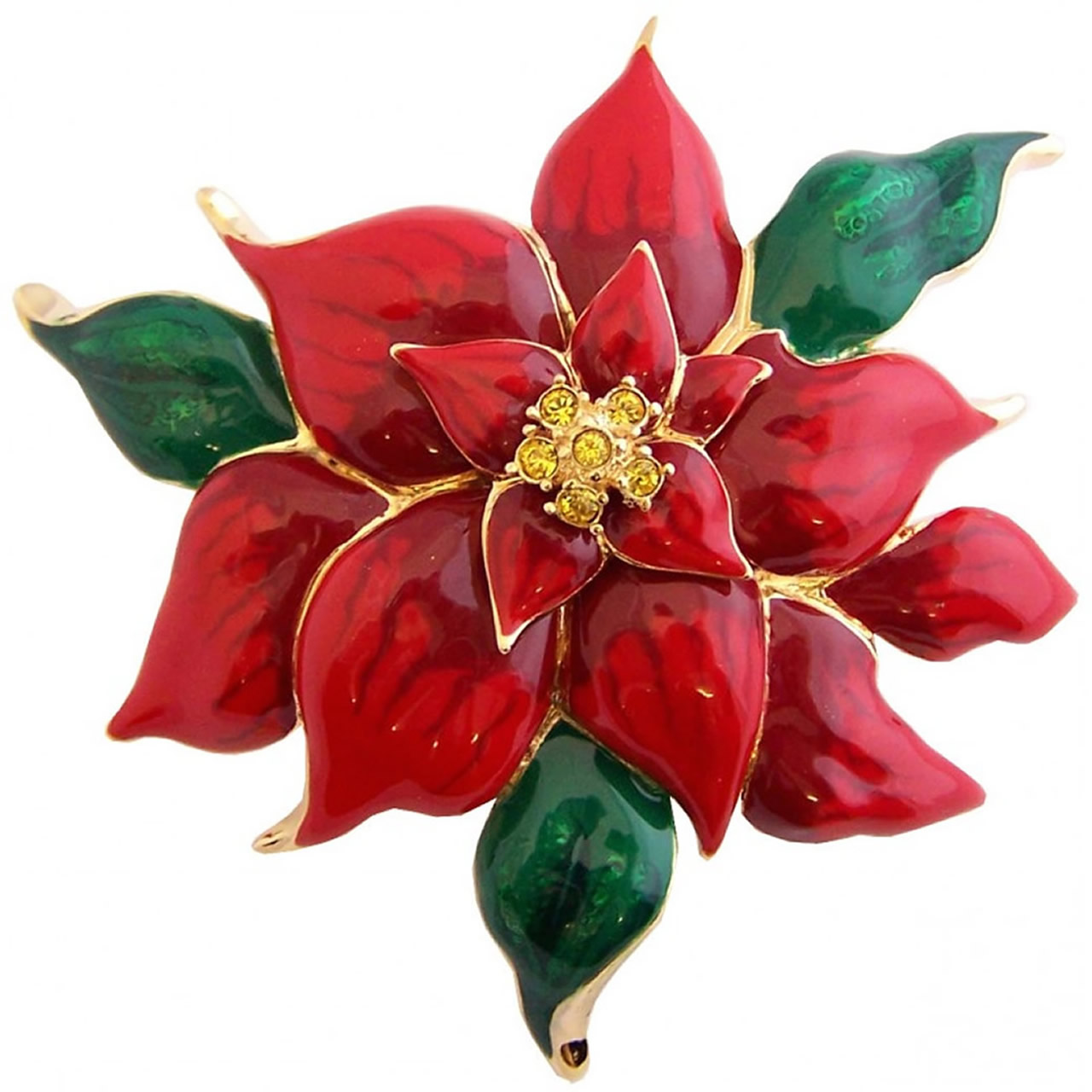 Gold Plated Red And Green Poinsettia Brooch
