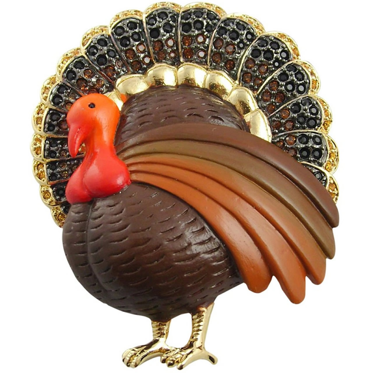 Unusual Gold Plated Turkey Brooch