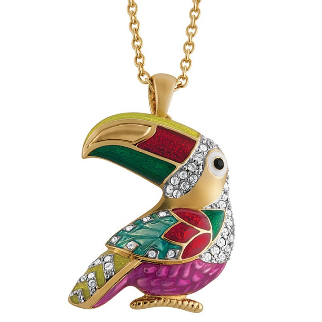 Colourful, Gold Plated Toucan Brooch/Pendant