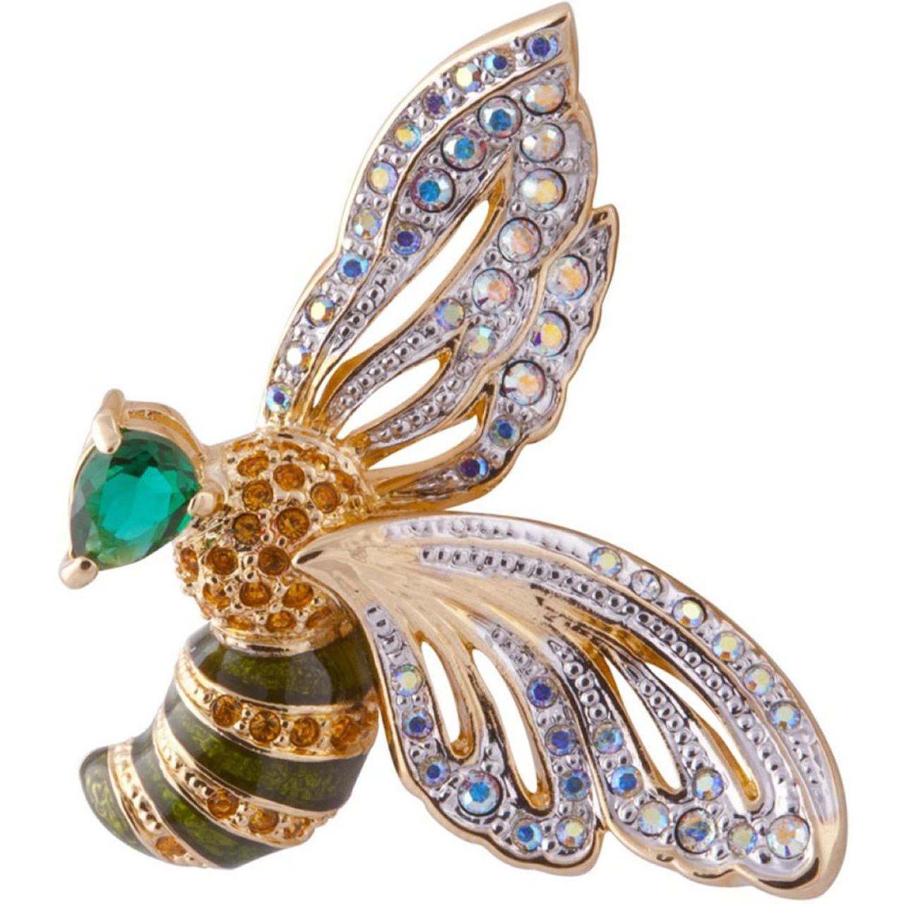 Beautiful Gold Plated Bee Brooch With Various Austrian Crystals