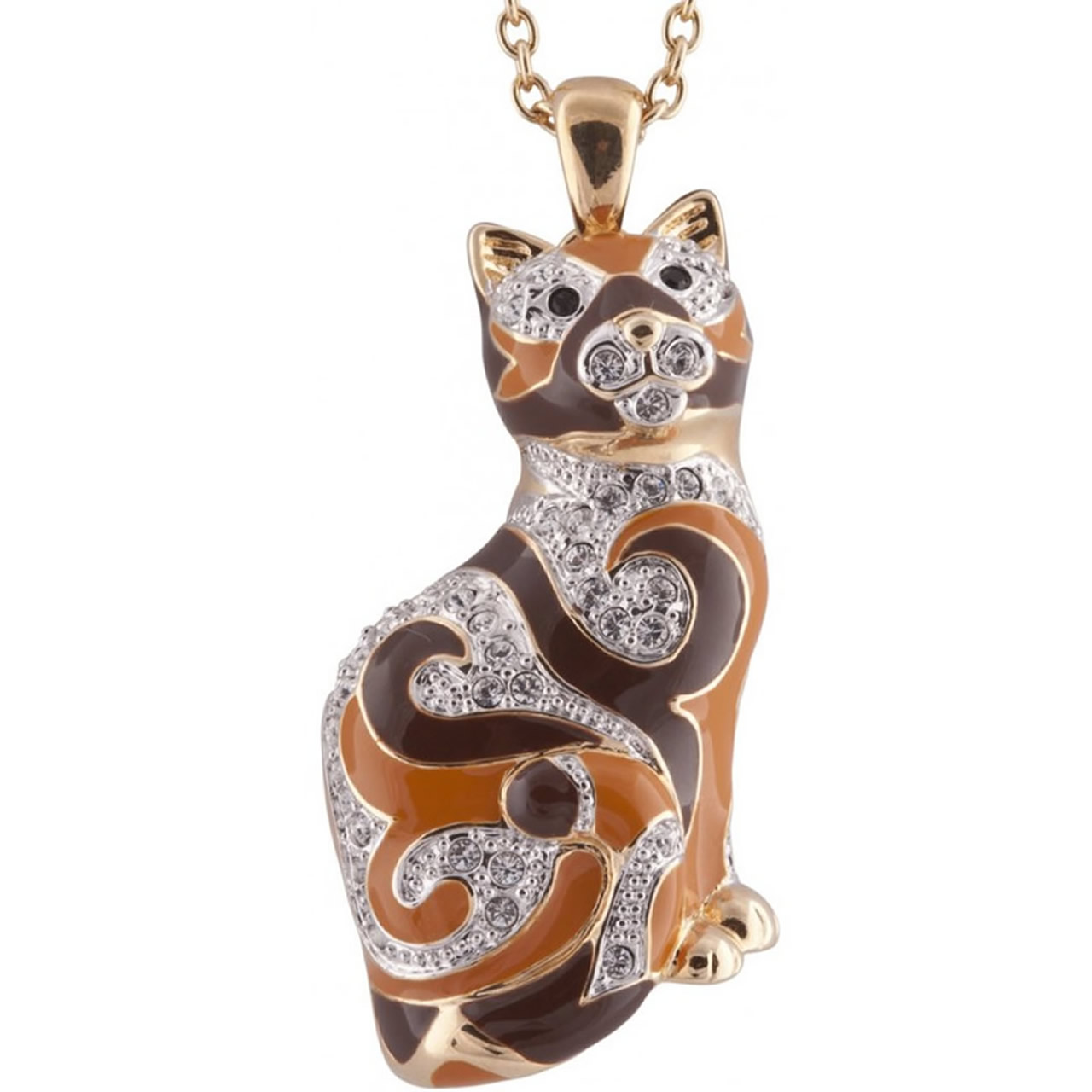 Gold Plated Swirled Pattern Cat Brooch On Chain