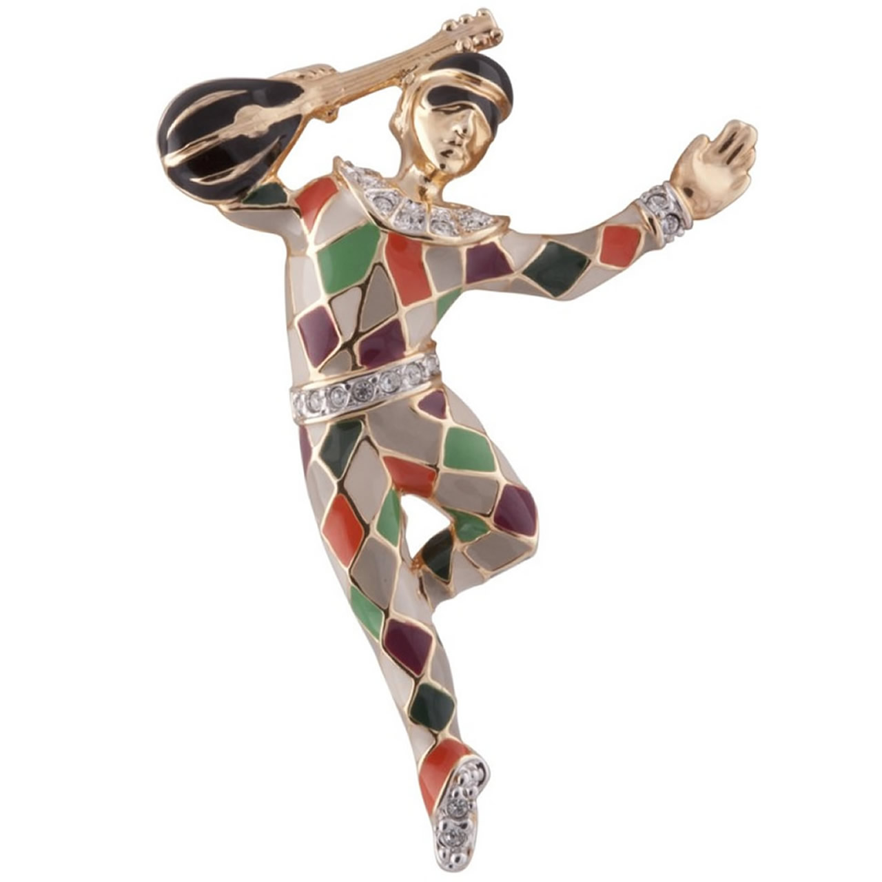 Colourful Austrian Crystal And Gold Plated Harlequin Brooch