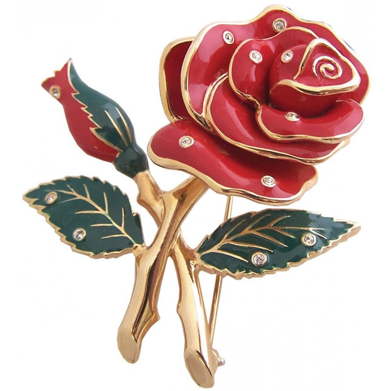 Gold Plated Red And Silver Crystal Rose Brooch