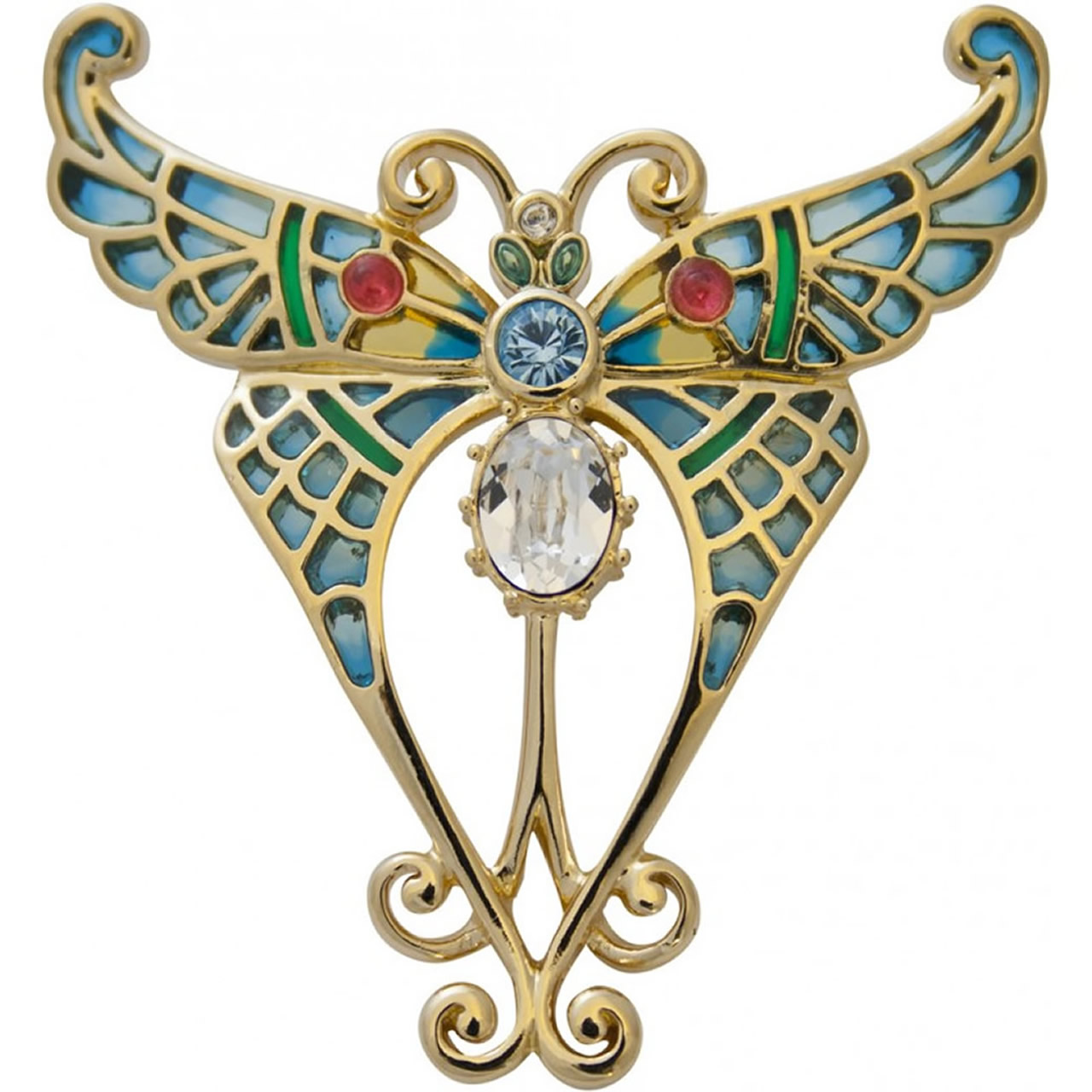 Elegant, Colourful Gold Plated Butterfly Brooch
