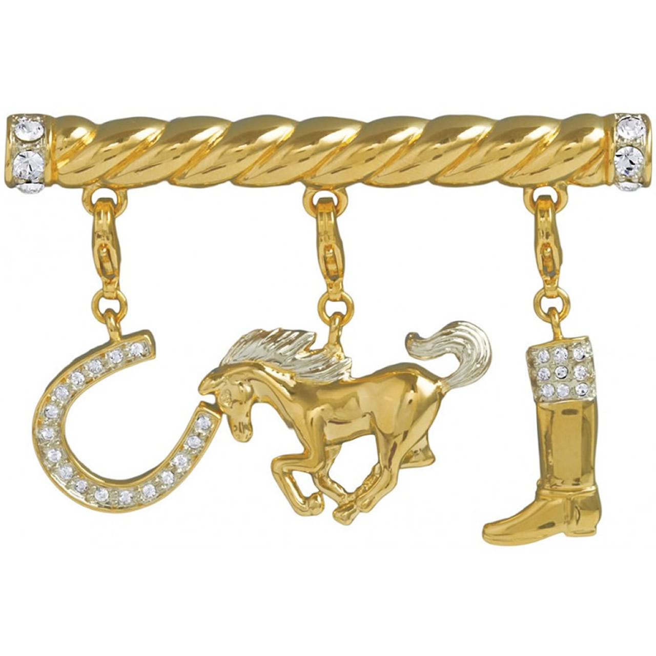 Gold Plated Equestrian Charm Brooch With Silver Crystals