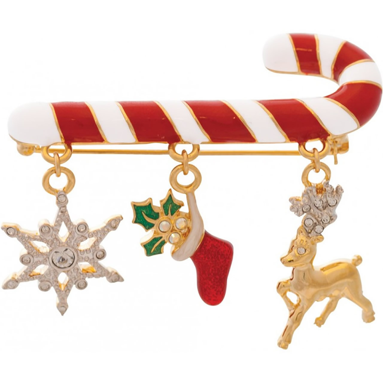 Gold Plated Christmas Candy Cane Brooch With Themed Charms