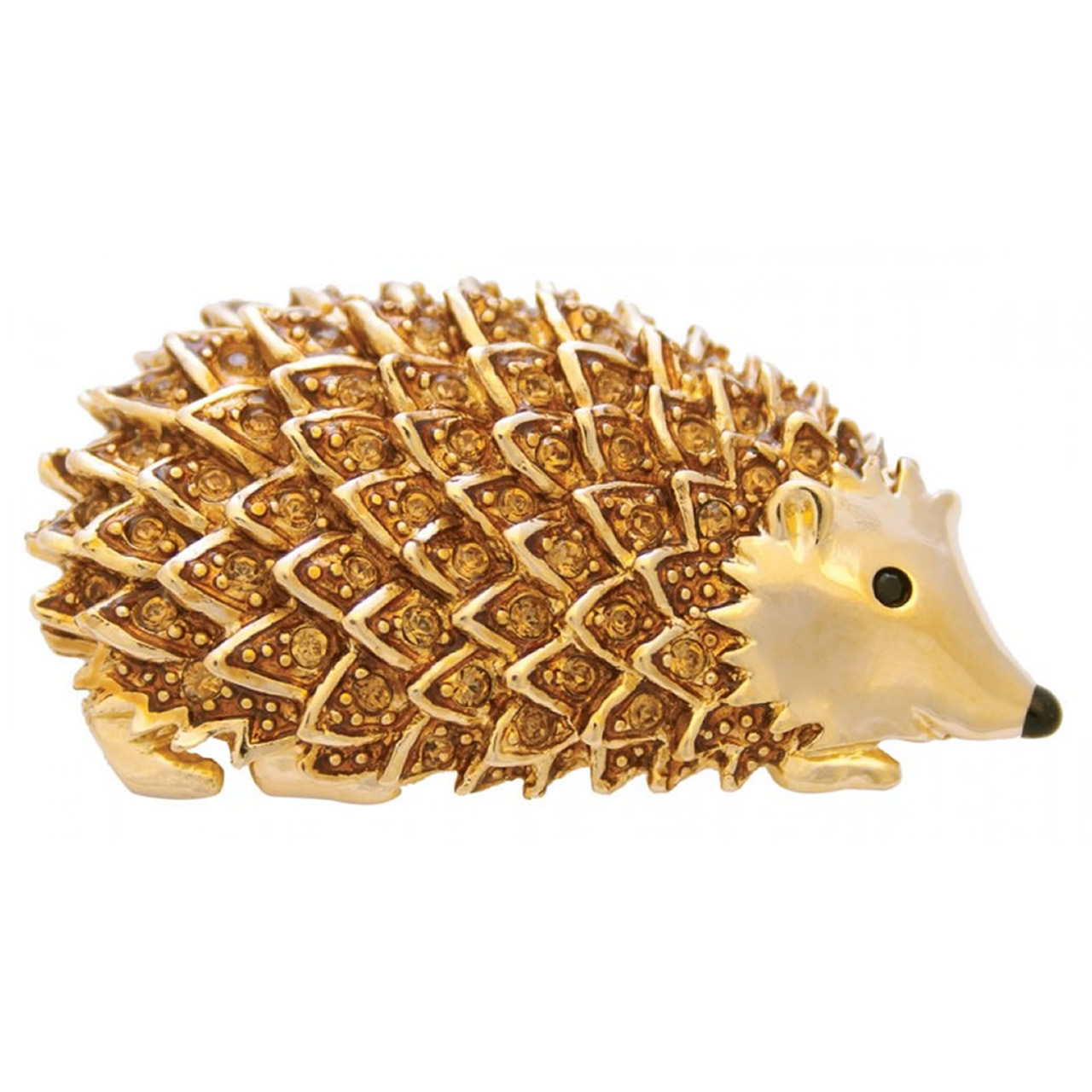 Gold Plated Hedgehog Brooch With Gold Crystals