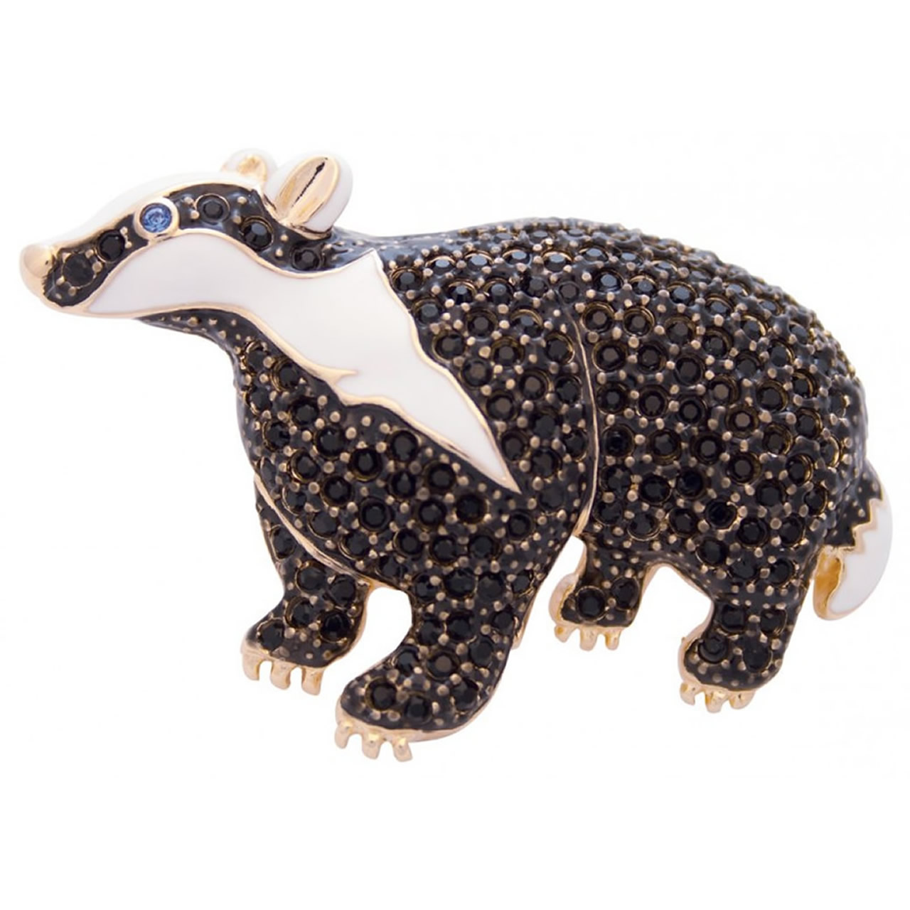 Gold Plated Badger Brooch With Black And Blue Crystals