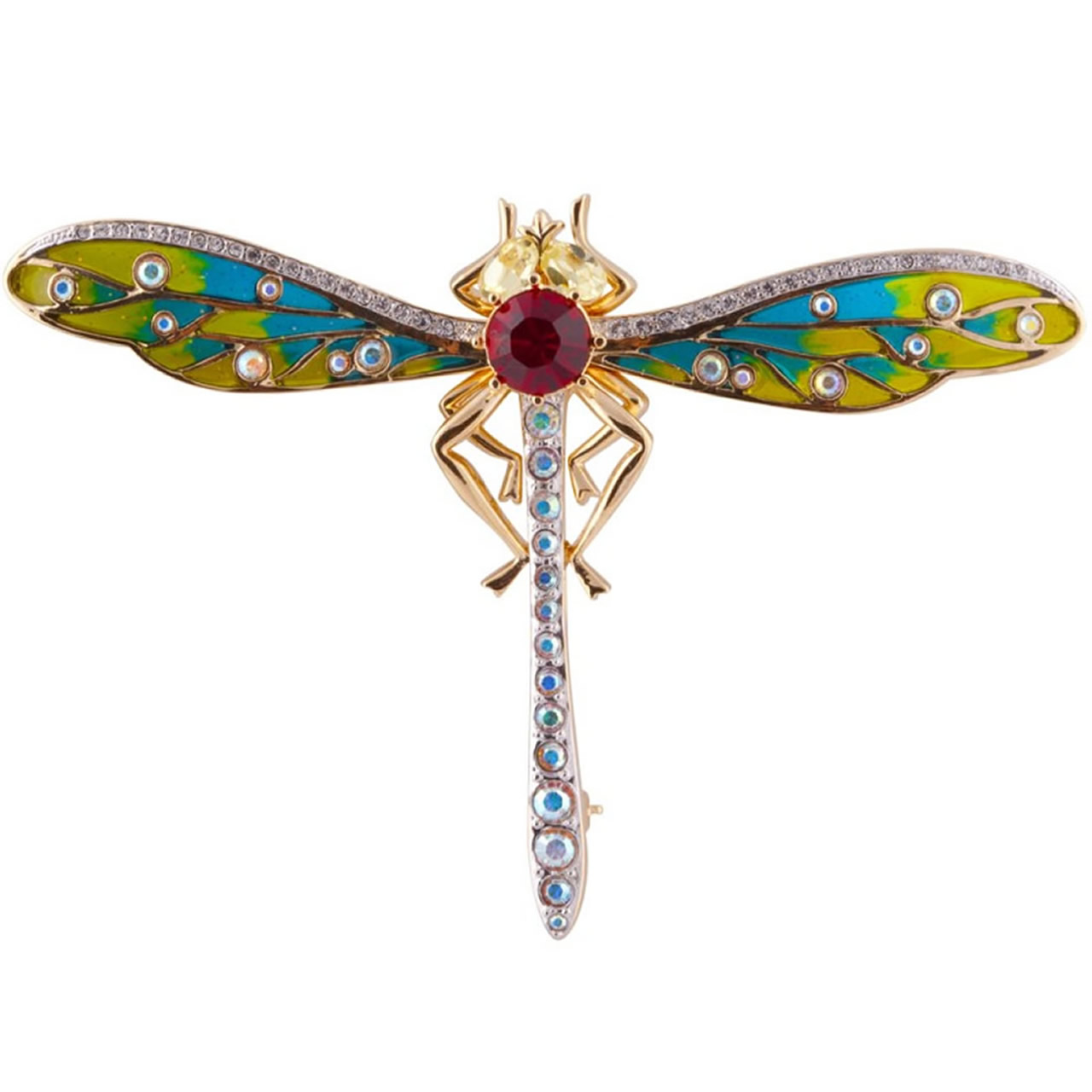 Gold Plated Colourful Dragonfly Brooch