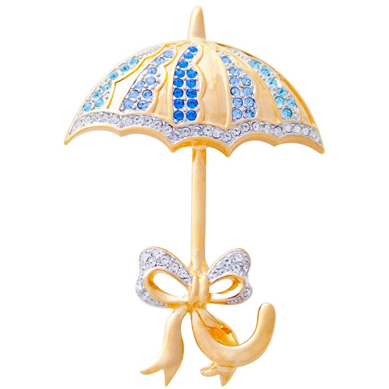 Gold Plated And Multicoloured Austrian Crystal Umbrella Brooch