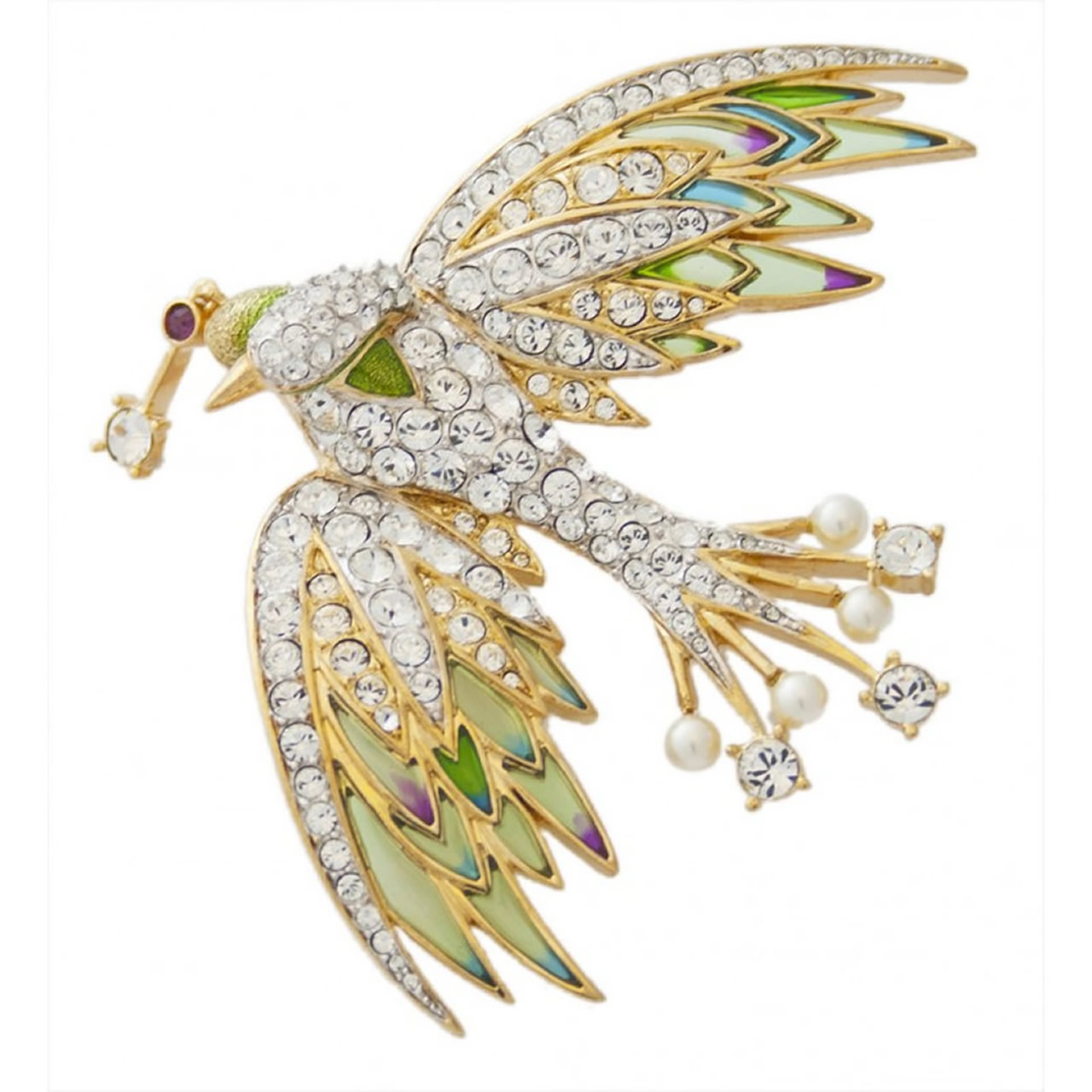 Colourful Gold Plated And Silver Crystal Set Bird Brooch