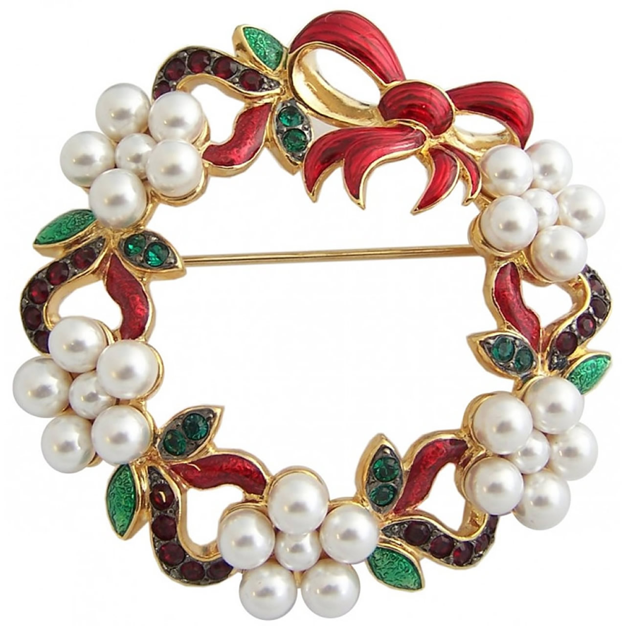 Gold Plated Christmas Wreath Brooch With White Pearls And Coloured Crystals