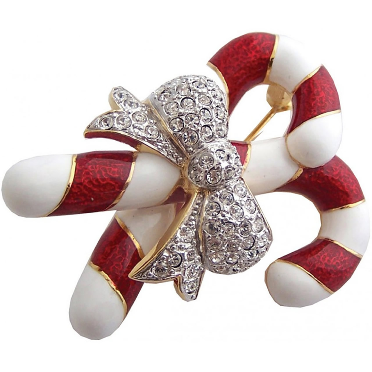 Gold Plated Candy Canes Christmas Brooch