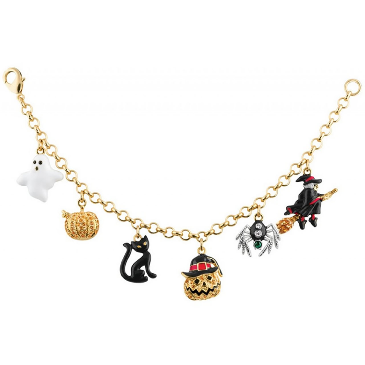 Halloween Style Gold And Enamel Charm Bracelet