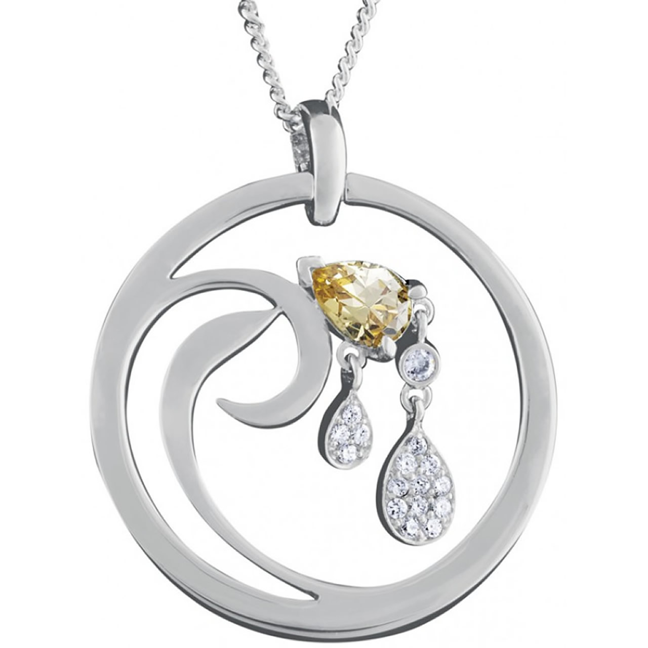 Sterling Silver Citrine And Cubic Zirconia Set Swirl Design Pendant With Chain