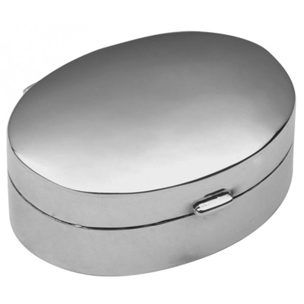 Sterling Silver Small Plain Oval Hinged Pill Box