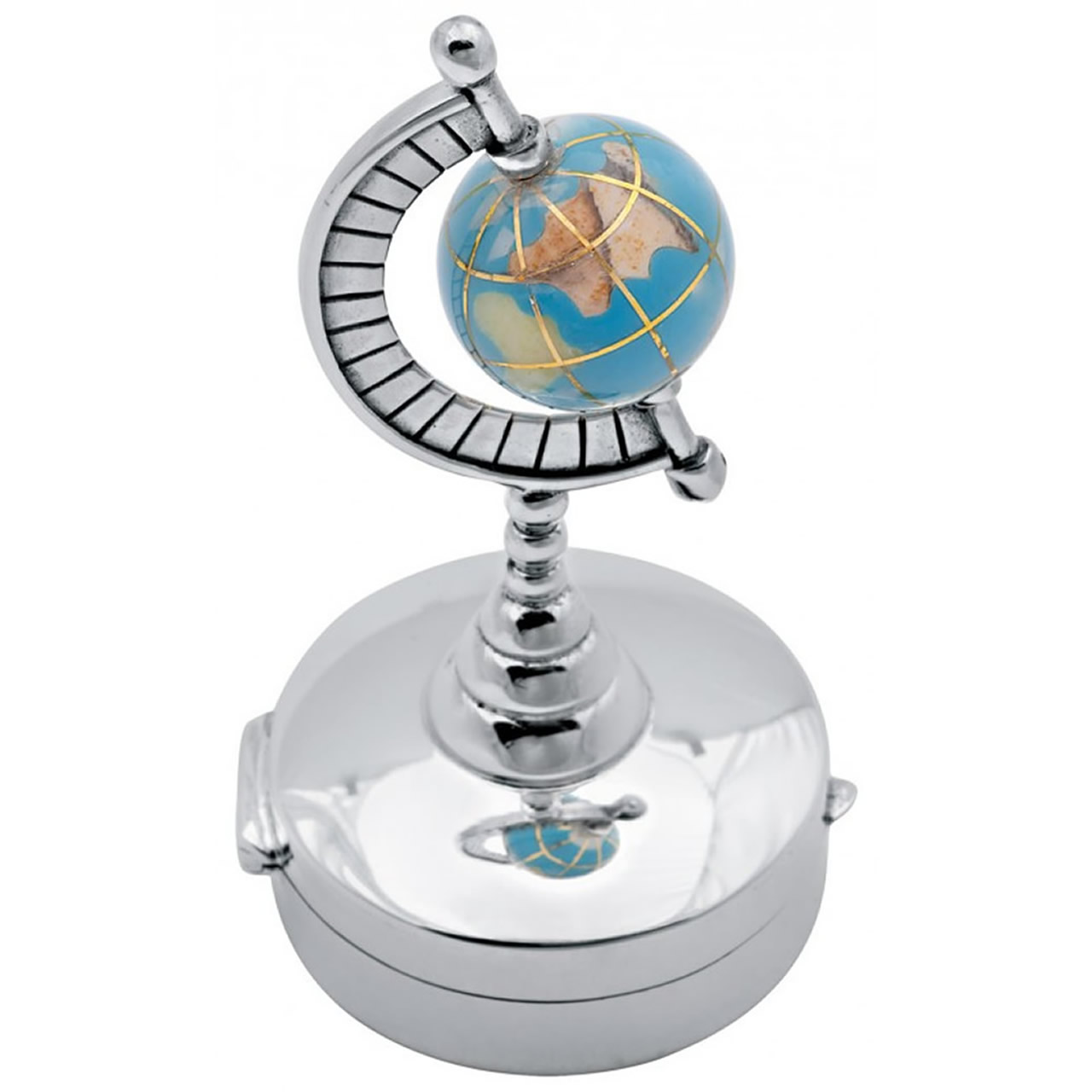 Sterling Silver Round Hinged Pillbox With Spinning Globe