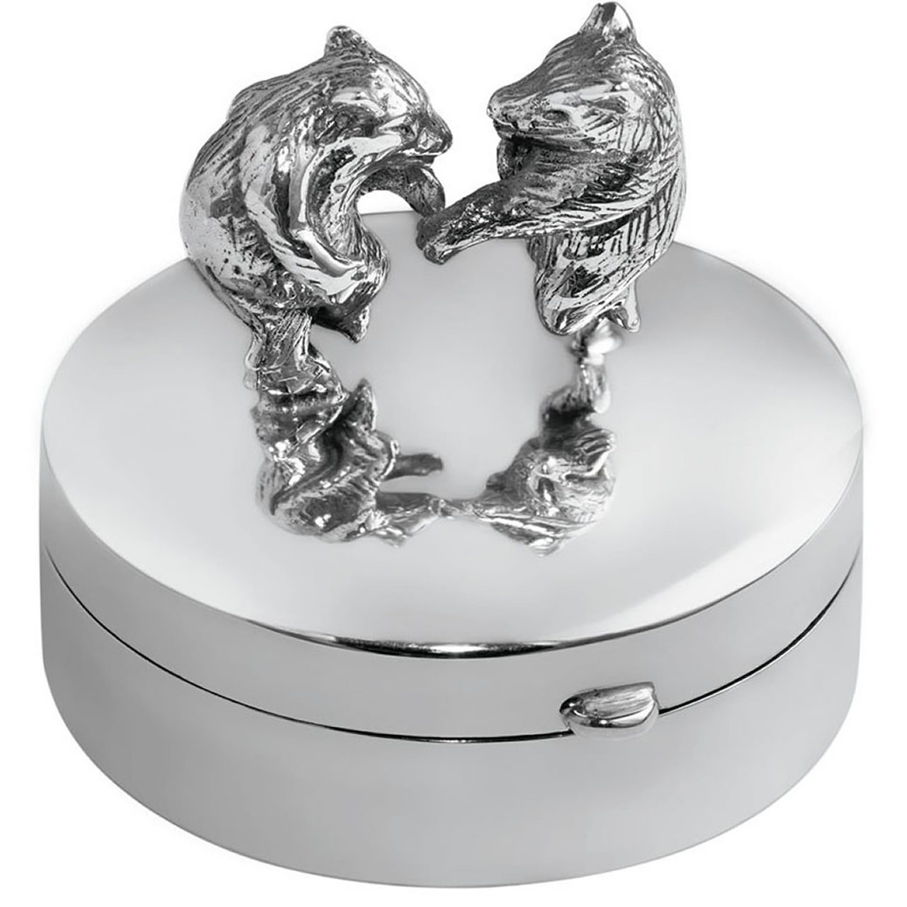 Sterling Silver Round Hinged Pill Box With Dancing Bears