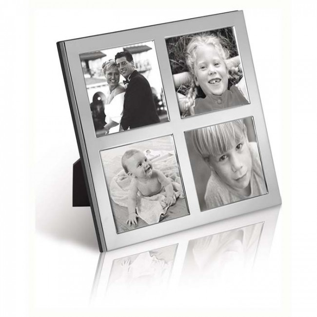 Sterling Silver 6x6 Quad Photo Frame Wooden Back