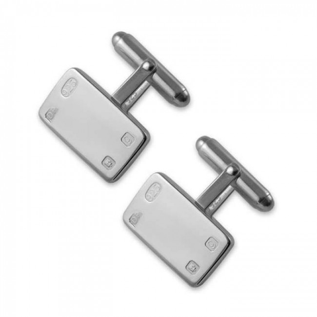 Sterling Silver Feature Hallmark Rectangle T Bar Cufflinks