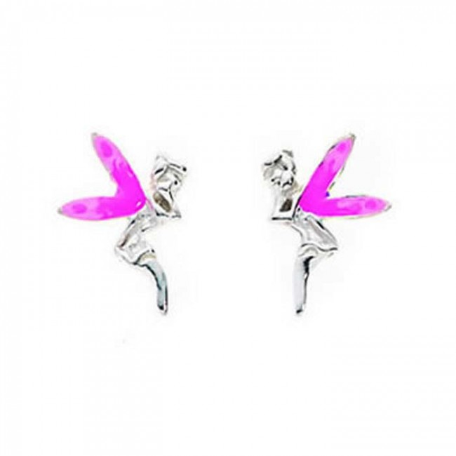 113f34a25 Sterling Silver Pink Winged Fairy Stud Earrings. SKU: GEK_A802P. £6.95