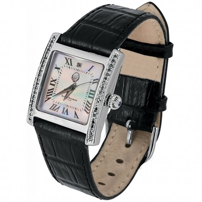 Sterling Silver Swiss Movement Watch With Mother Of Pearl