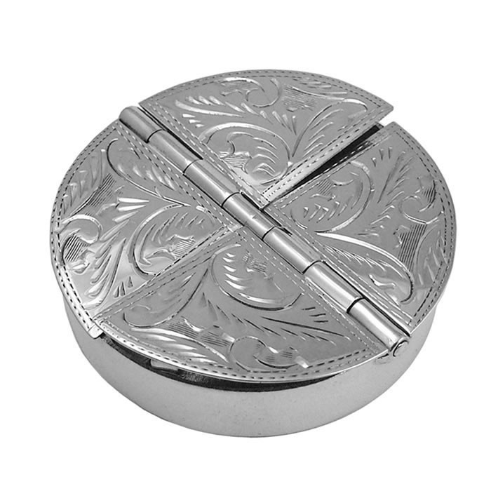 Sterling Silver 4 Piece Round Engraved Pill Box