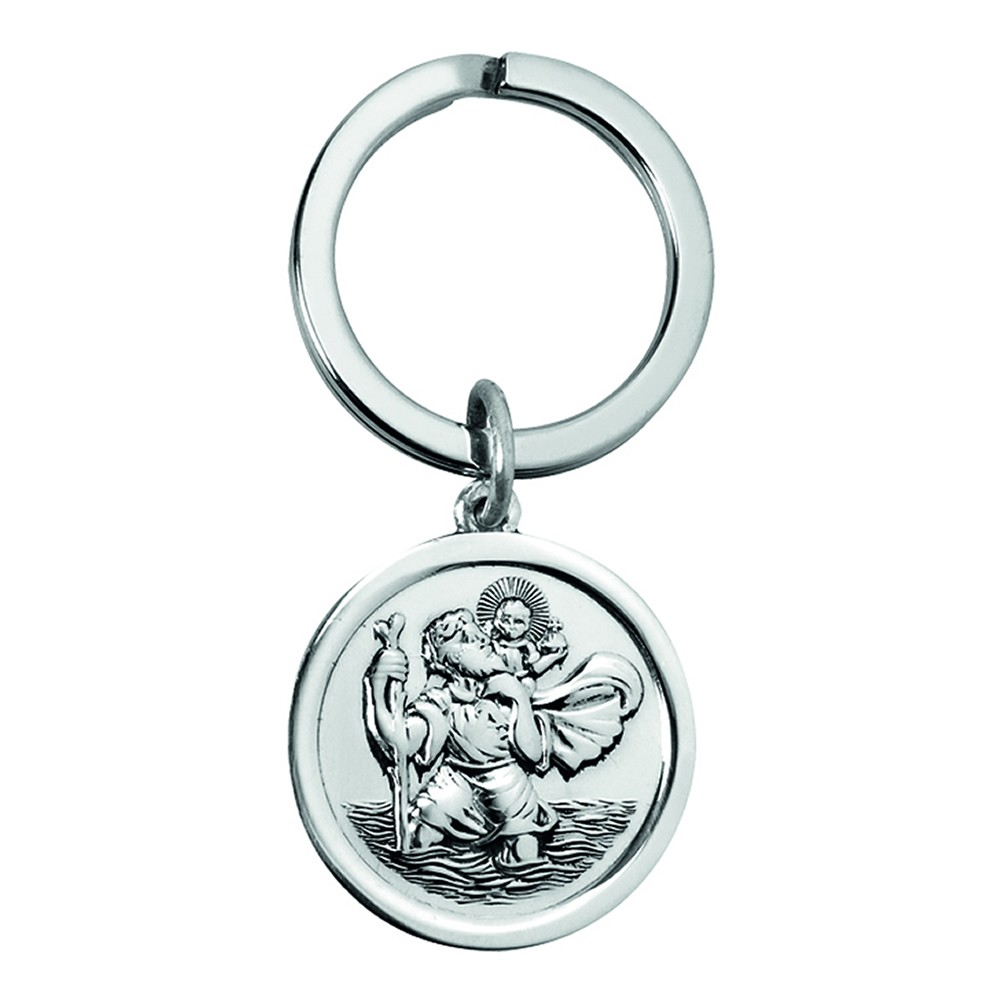 Sterling Silver St Christopher Styled Key Ring
