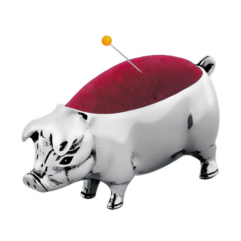Sterling Silver Simple Pig Pin Cushion