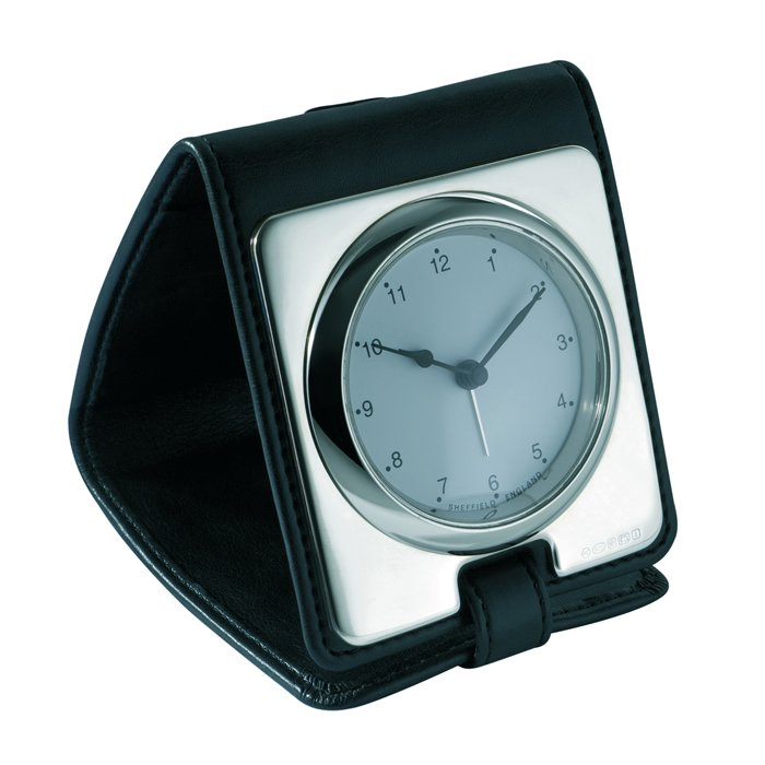 Sterling Silver Plain Leather Travel Alarm Clock